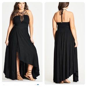 New! City Chic Plait Detail Maxi Dress - black